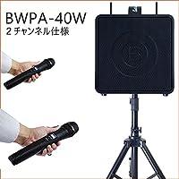 店頭セールや小さな会議にお勧め!ワイヤレスマイク2本付き 充電式アンプ一体型スピーカー