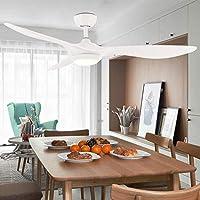 シーリングファンライト 超薄型 周波数変換 天井ファンライト LED 三色調光 リモコン 24W ABS 刃 (1.32m, 白 A2)