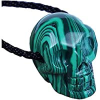 GemShark Crystal Skull Necklace Healing Gemstone Pendant 1.2 inch Statue Figurine Collectible Realistic