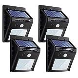 センサーライト ソーラーライト 20LED 屋外照明 両面テープ付 防犯ZEEFO ボタン付き シングルモード 自動点灯 太陽光発電 外灯 玄関 駐車場 4個