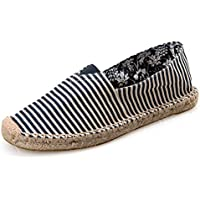 AUCDK Unisex Slip On Loafers Canvas Stripe Flat Loafers Breathable Casual Flats Lightweight Couples Espadrilles