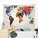 ジャション 水彩 ウォーターカラー 世界地図 壁掛けタペストリー 抽象 地図 壁飾り 家 リビングルーム ベッドルーム 部屋 おしゃれ飾り 150X130CM