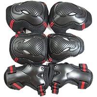 インライン スケボー スケートボード プロテクター 3点セット(手首・肘・膝) 赤 黒 L サイズ