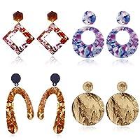 アクリルイヤリング、樹脂耳のペンダント、ボヘミアン耳リング、女性女の子のためのファッションジュエリー、4ペア,a