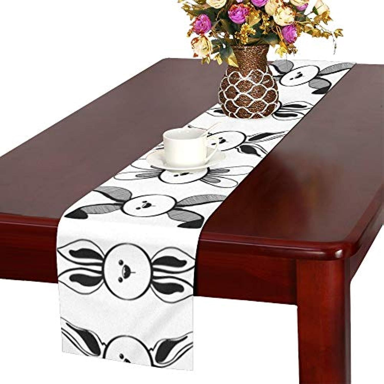GGSXD テーブルランナー すばしこい 白いうさぎ クロス 食卓カバー 麻綿製 欧米 おしゃれ 16 Inch X 72 Inch (40cm X 182cm) キッチン ダイニング ホーム デコレーション モダン リビング 洗える