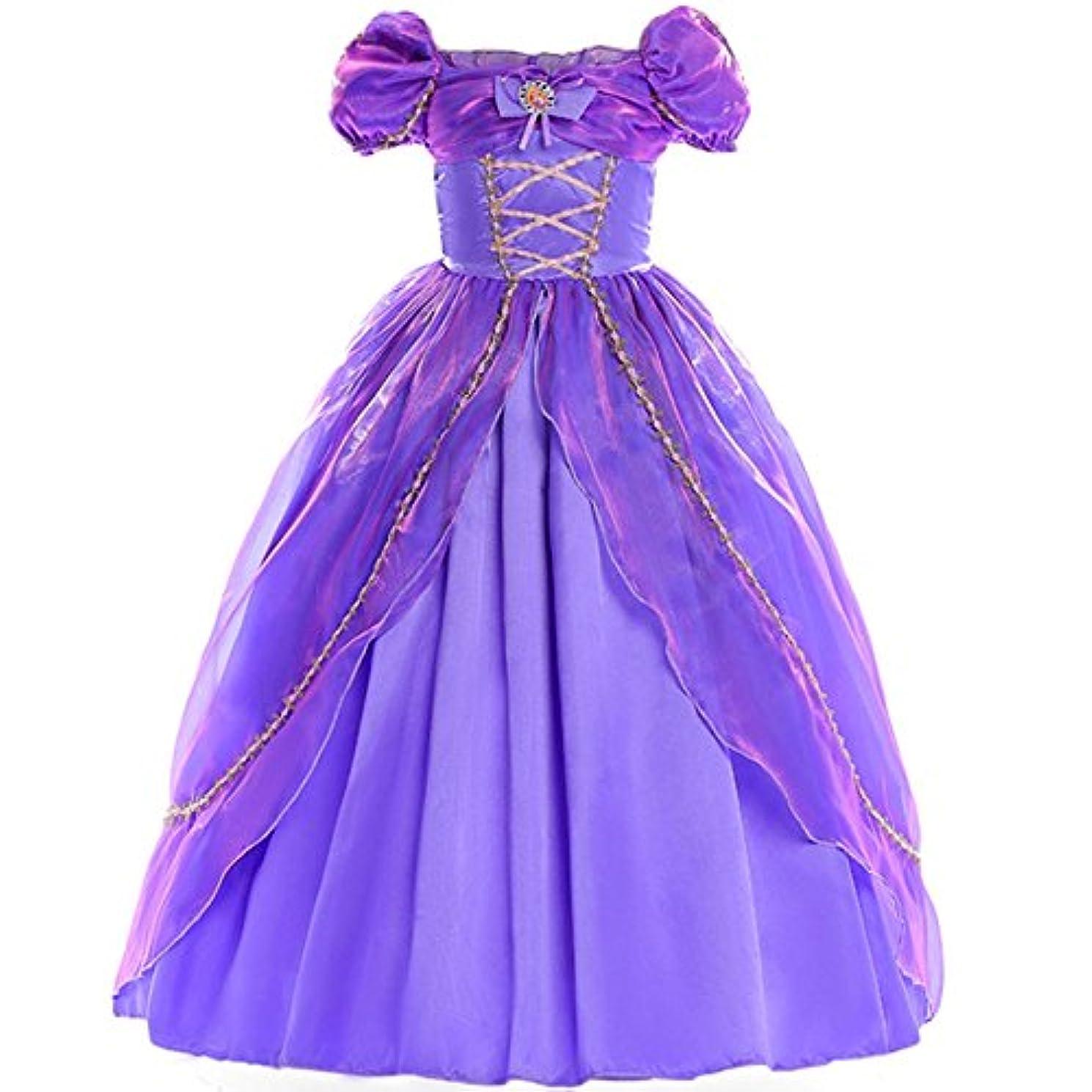 フランクワースリー保証する縮約Forpend 子供ドレス ラプンツェル風ドレス パープル コスチューム なりきりキ お姫様 プリンセス 女の子 ワンピース110 120 130 140 クリスマス 誕生日 DR11