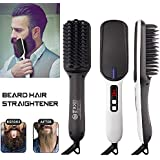 Geecol Men's Ionic Beard Straightener Comb, 2019 New Design Dual Voltage (100V-240V) Quick Hair Styler Ionic Beard Straightening Heat Brush PTC Ceramic Technology, Curling Hair Comb Electric Hair Comb Men Women