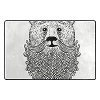ラグ カーペット くま 髭 面白い 玄関マット ラグマット 滑り止め 洗える おしゃれ 絨毯 手触りよい 折り畳み可 床暖房 約幅31 x 20 in & 60 x 39 in Mskyoo