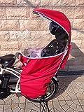 AK365 4WAYレインカバー 自転車 チャイルドシート 広びろ 防寒、防風、防水、日除け 虫除けメッシュ付き【リアチャイルドシートカバー】【後ろ用】【リア用】【雨】【サンシェード】 (レッド)