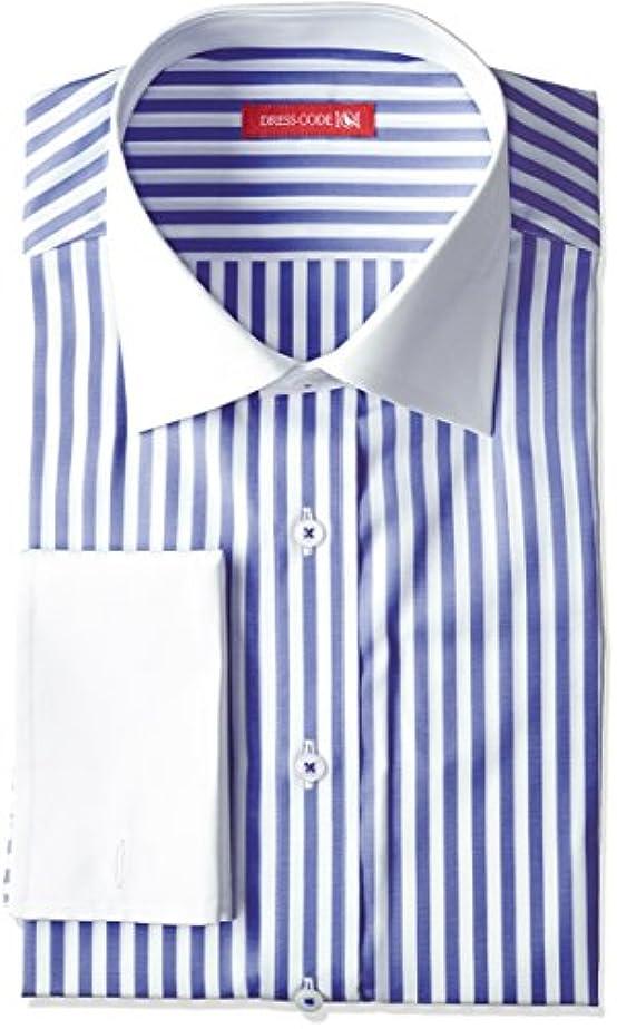 アクセル視線海藻【日本製】ドレスシャツ ワイドカラー?ワイドスプレッド ダブルカフス 長袖ワイシャツ ストライプ