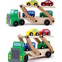 goolsky木製Double Decker Car Carrierトラックand Cars Wooden Toy Set with 1 Truck and 4 cars