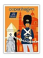 コペンハーゲン - アイルランド国際航空 - フレンドリーな航空会社 - ビンテージな航空会社のポスター によって作成された ディック・ニーガス・アンド・フィリップ・シャーランド c.1960s - アートポスター - 23cm x 31cm