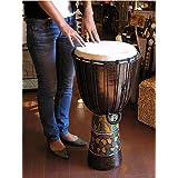 アジアン雑貨 ジャンベ 太鼓 H.70cm ドットペイント ブラウン アジアの楽器