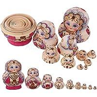 ロシアハンドペイントStacking人形Fuchsia Matryoshka Nesting Dolls 10個入り