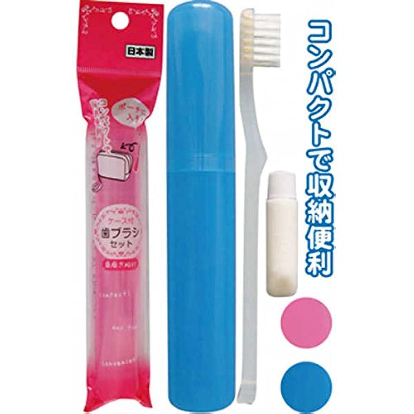刈り取る故意に全部ポーチに入るケース付歯ブラシセット(日本製 japan) 【まとめ買い12個セット】 41-214