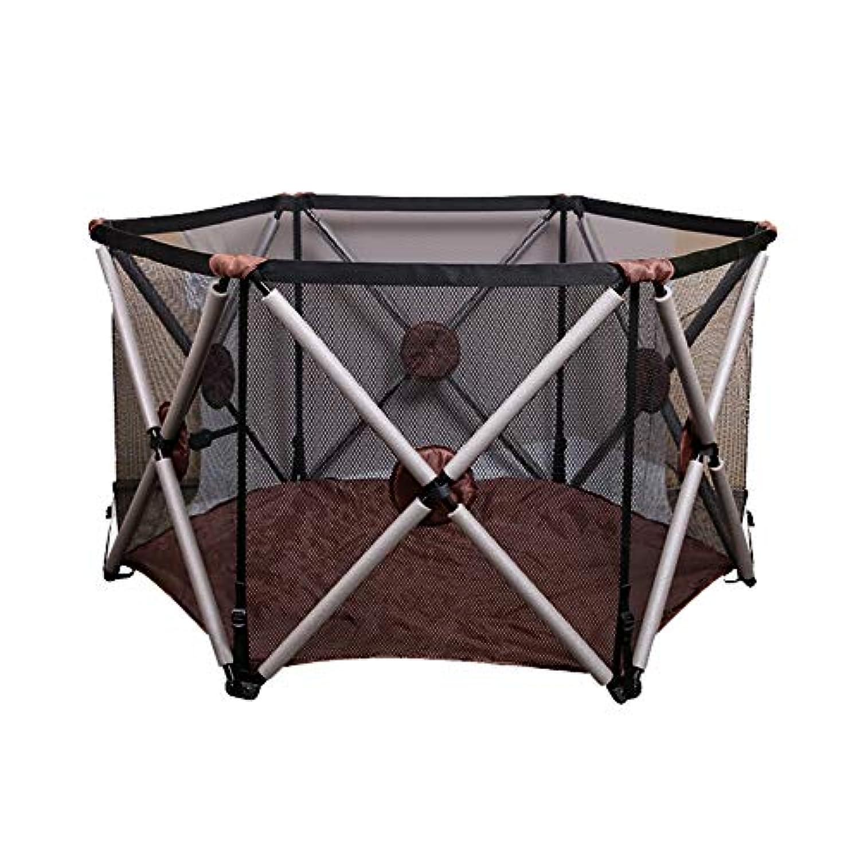 赤ちゃんの遊び場ヘキサゴン折りたたみ子供の安全フェンス幼児幼児屋内クロールマット、高さ78.5cm、茶色の緑 (色 : Brown)