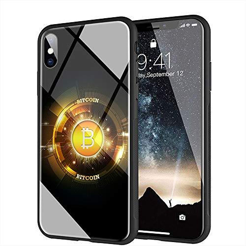 iPhone 7 ケース, iPhone 8 ケース, と互換性のある強化ガラスバックカバーソフトシリコンバンパー iPhone 7/8 AMA-16 BTCビットコイン