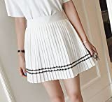 (ALLURE) プリーツ ミニスカート フレア スカート ライン ミニ 白 紺 AF0510
