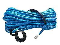 6ミリメートル* 24メートル12ストランドオフロードuhmwpe合成牽引ウインチロープで1.5メートルスリーブと指ぬき