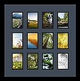 Best ArtToFramesフォトフレーム - (アートトゥフレームズ)ArtToFrames コラージュフォトフレーム ダブルマット 12 窓 サテンブラックフレーム 3.25x4.75 ブルー Review