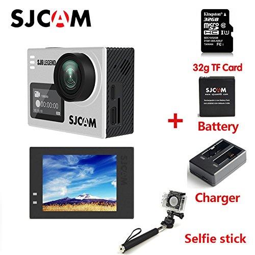 SJCAM SJ6 LEGEND 4K スポーツカメラ(タッチ可能なバックドア*1 追加32G TF Card*1+電池*1+充電器*1+自撮り棒*1 同梱),防水 広角 タッチスクリーン ジャイロスコープ搭載 アクションカメラ ぎんしょく