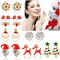 Konsait 7 Pairs Christmas Earrings Studs for Women, Xmas Earrings for Girls Kids Christmas Tree Santa Hat Reindeer Snowflake Jingle Bell Earrings Studs for Christmas Party Decoration