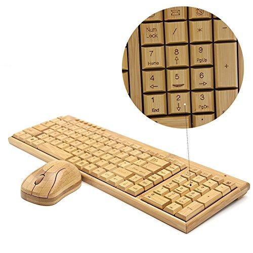 (Tstar)竹製キーボード&マウスセット無線 LAN 仕様 優しい 天然 素材 竹【豪華2点セット】