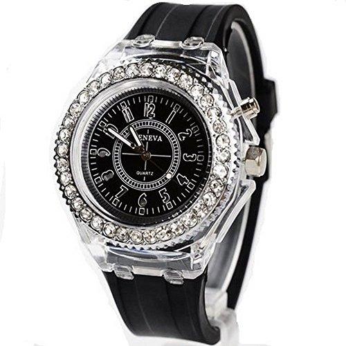 『Geneva レインボーLED腕時計 ブラック』のトップ画像