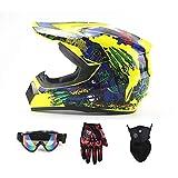 モトクロスヘルメットアダルト(4ピースセット)、ニュートラルオフロードオートバイヘルメットATV、キッズアウトドアエクストリームスポーツの保護ヘルメット、ユースヘルメット、ゴーグル、マスク、手袋,イエロー,L