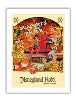 太平洋の港 - ディズニーランドホテル - アナハイム、カリフォルニア州 - ビンテージな世界旅行のポスター によって作成された ロッツ c.1970s -プレミアム290gsmジークレーアートプリント - 46cm x 61cm
