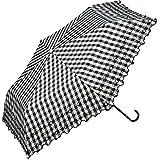 ワールドパーティー(Wpc.) 日傘 折りたたみ傘 黒 50cm レディース 傘袋付き T/C遮光チェックフラワー刺繍ミニ 801-7388 BK