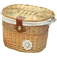 天然籐 自転車バスケット 自転車 収納バスケット 取り付けが簡単 金具付属 天然素材