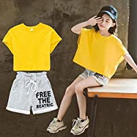 QRX Two-Piece Girl Short-Sleeved Breathable Clothes Shorts (Color : Yellow, Size : 150cm)