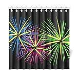 Kangenze シャワーカーテン Home Decor Bath Curtain Fireworks Festive Firecrackers Green Blue Red Polyester Fabric Waterproof Shower Curtain for Bathroom,150cm×180cm Shower Curtains Hooks Included