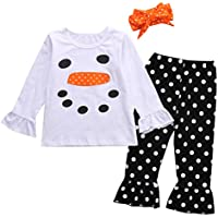 Canis Little Girls' Top Shirt And Polka Dot Ruffle Leggings Set