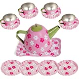 IQ Toys 15 Piece Dainty Tea Set for Pretend Tea Parties, in Bright Colors