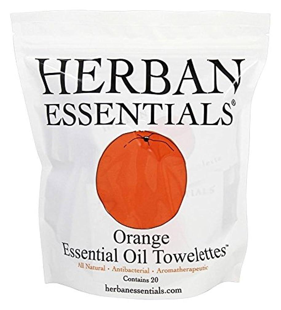 物思いにふけるなしで圧縮するハーバンエッセンシャルズ HERBAN ESSENTIALS アロマタオル オレンジ 20包