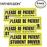 "FATHER.SON Student Driver Magnet Set of 4 Please Be Patient Student Driver 4.4""x10.2"" Safety Sign Vehicle Bumper Magnet - Reflective Vehicle Car Sign Sticker for New Drivers (4)"