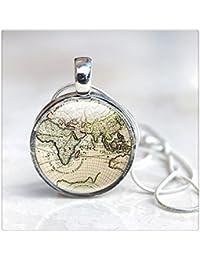 地図ネックレス - 世界地図ネックレスペンダント - 地図フォトネックレス - ガラスペンダント