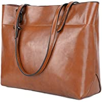 YALUXE Women's Soft Leather Work Tote Shoulder Bag with Wallet (Upgraded 2.0)