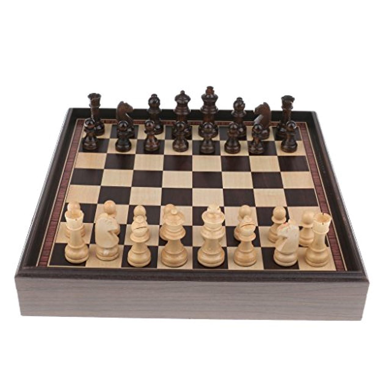Fenteer ウッド チェスセット チェスボード チェスピース