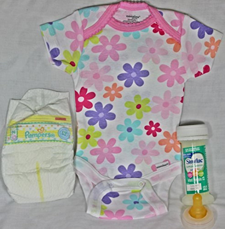 Reborn OOAK Baby Dolls Girl Pamper Fake Formula Milk Bottle Onesie Flowers