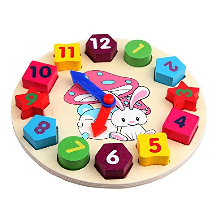 b3木製キッズデジタル時計ジオメトリ教育玩具ビルディングブロック玩具
