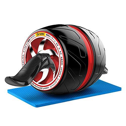 NAKO 腹筋ローラー エクササイズローラー 筋トレ アブホイール 膝マット付き スリムトレーナー トレーニング アシスト機能(赤)