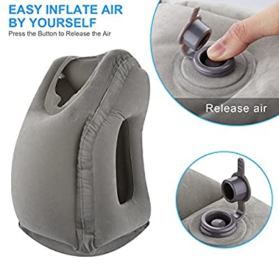 Simptech Inflatable Travel Pillow, Ergonomic and Portable Head Neck Rest Pillow,Patented Design for Airplanes, Cars, Buses, Trains, Office Napping, Camping