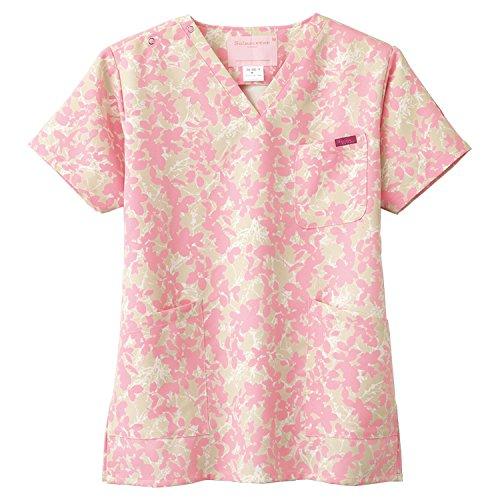 (FOLK) フォーク レディス 花柄スクラブ 女性用 診察衣 白衣 (7015SC) こもれ日柄ピンク 4L