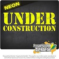 工事中 Under Construction 20cm x 7cm 15色 - ネオン+クロム! ステッカービニールオートバイ