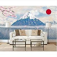 Ljjlm カスタム壁紙家の装飾壁画手描き抽象和風フジチェリーテレビの背景の壁の3D壁紙浮世絵-260X180CM