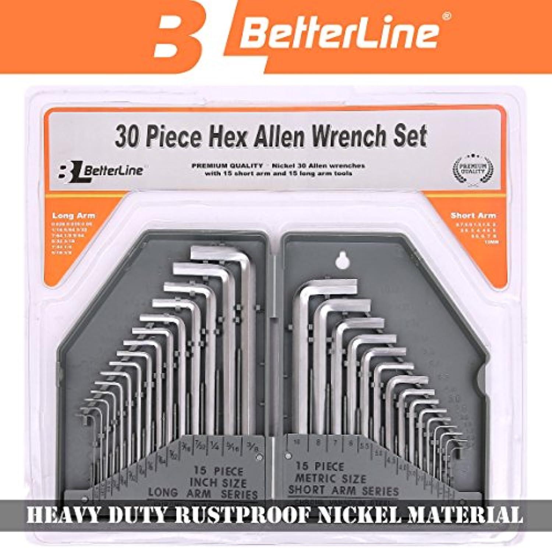 頑丈で錆びない 六角アレンキーレンチ30ピースセット- 15ロングアーム(インチ) と15ショートアーム (メートル法) アレンキー - 頑丈ニッケル地金(グレー)- 丈夫なブラスチックケース付き