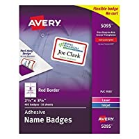 """Avery White Adhesive Name Badges with Red Border, 2-1/3"""" x 3-3/8"""", Box of 400 (5095) [並行輸入品]"""